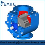 Rotary valve used with volumetric feeders